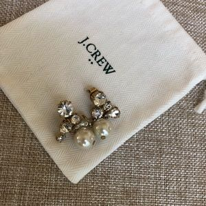 J Crew pearl crystal drop earrings